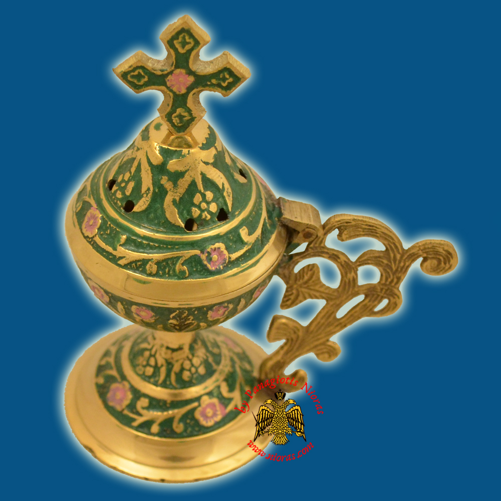 Metal Brass Incense Burner 13cm Conical Lid With Orthodox Cross Green Colour