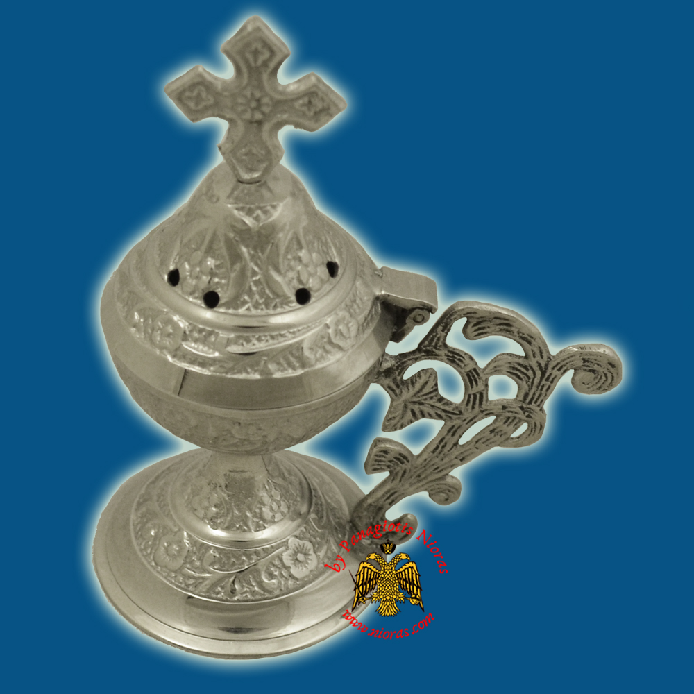 Metal Brass Incense Burner 13cm Conical Lid With Orthodox Cross Nickel Plated