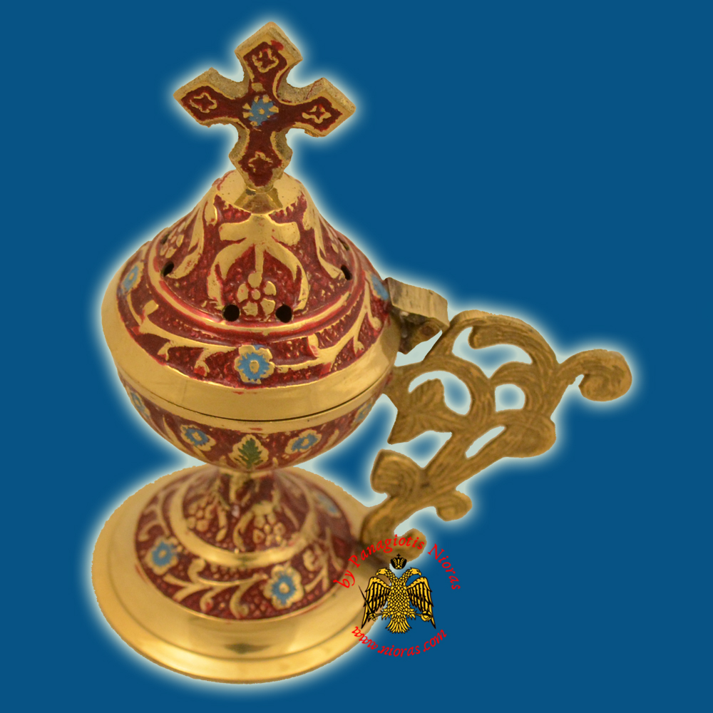 Metal Brass Incense Burner 13cm Conical Lid With Orthodox Cross Red Colour