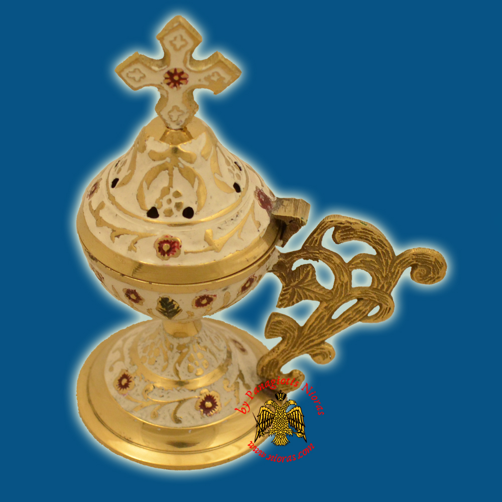 Metal Brass Incense Burner 13cm Conical Lid With Orthodox Cross White Colour
