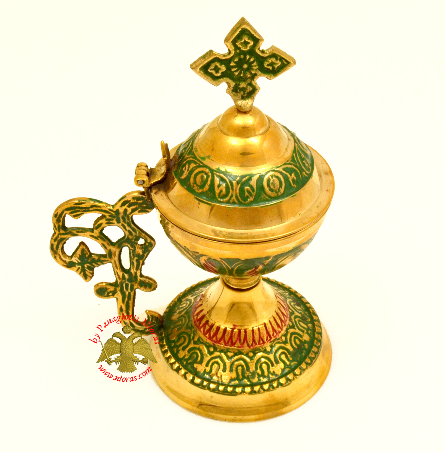 Orthodox Metal Brass Incense Burner 13.5cm With Cross Green Colour