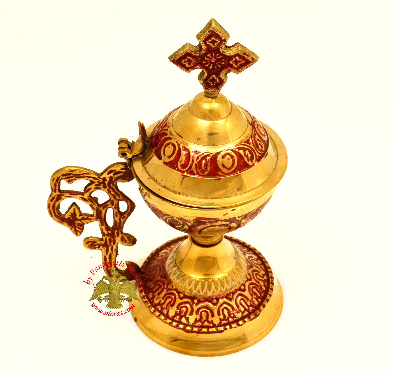Orthodox Metal Brass Incense Burner 13.5cm With Cross Red Colour