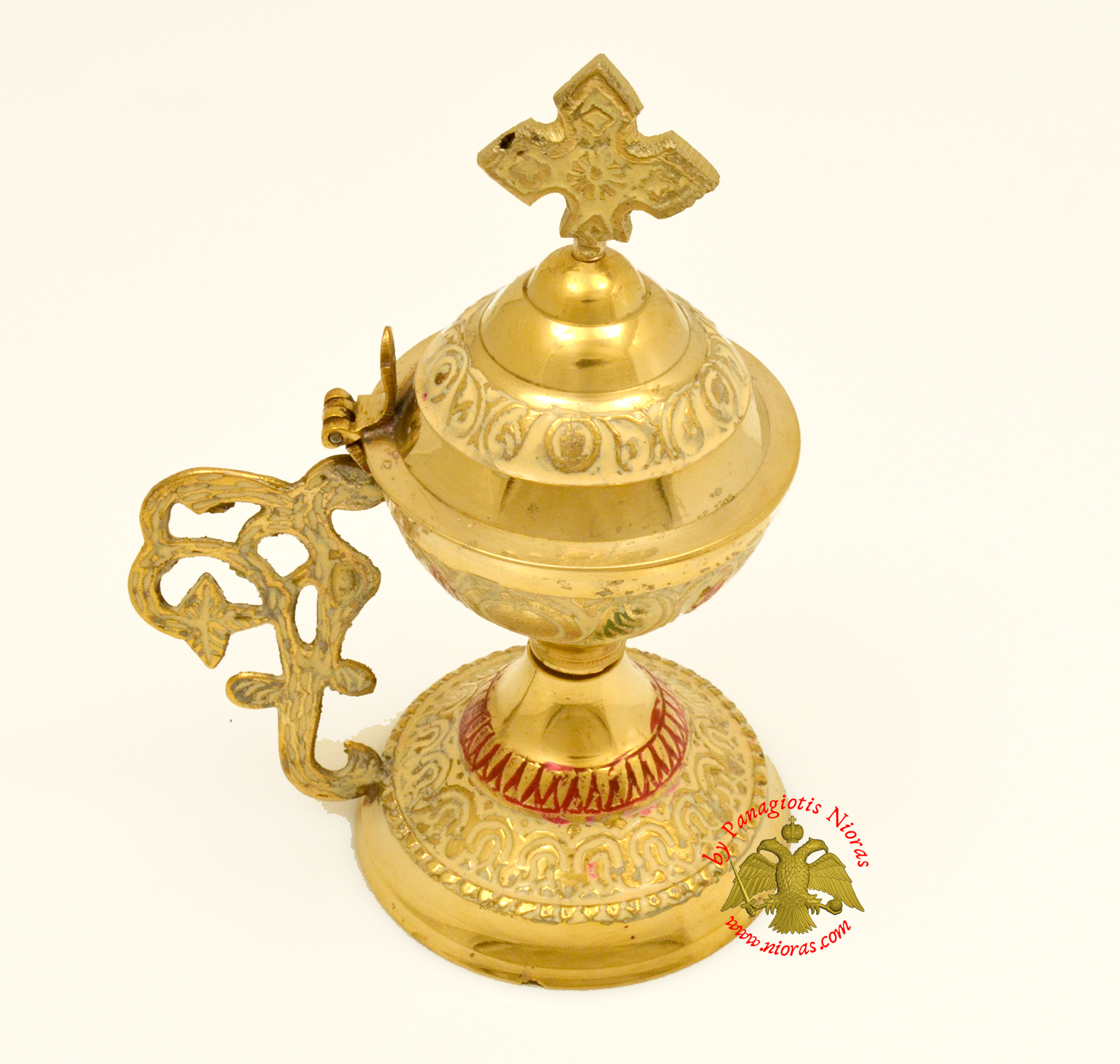 Orthodox Metal Brass Incense Burner 13.5cm With Cross White Colour