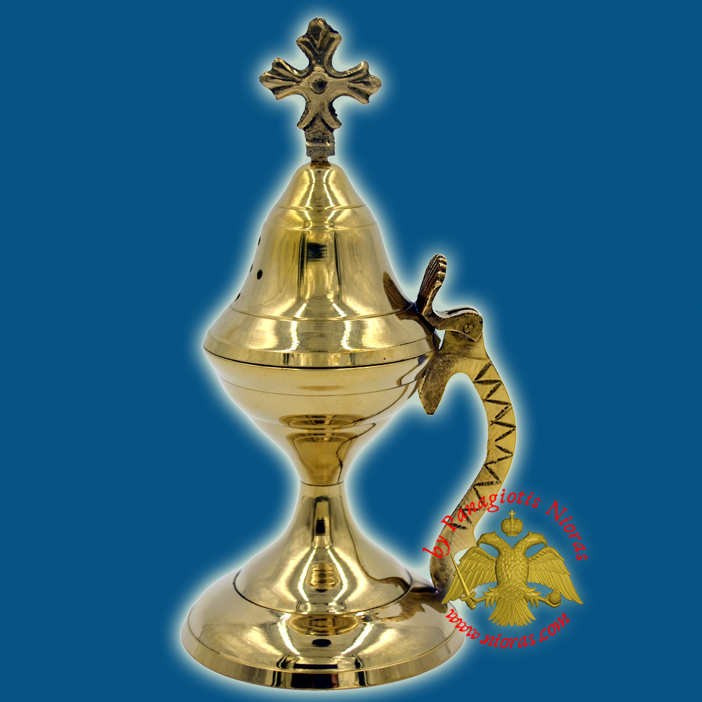Orthodox Traditional Incense Burner with Cross 19cm Brass