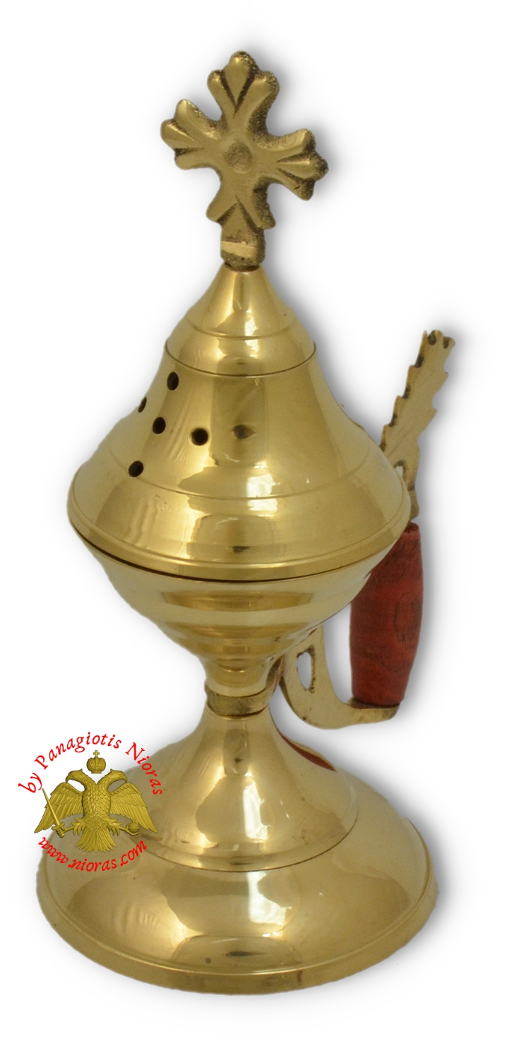 Orthodox Traditional Incense Burner with wooden handle 19cm