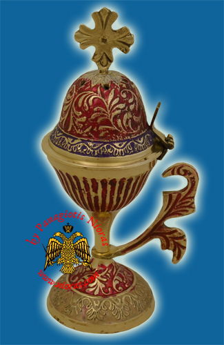 Orthodox Incense Burner Brass with Red Details 20cm