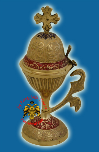 Orthodox Incense Burner Brass with Details 20cm