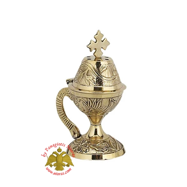 Orthodox Traditional Incense Burner 10cm Brass Polished