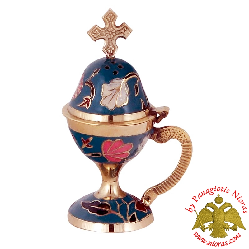 Home Orthodox Traditional Censer Brass 13cm Blue Enamel