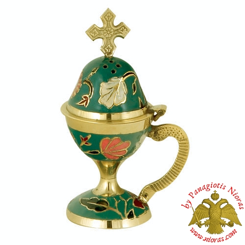 Home Orthodox Traditional Censer Brass 13cm Green Enamel