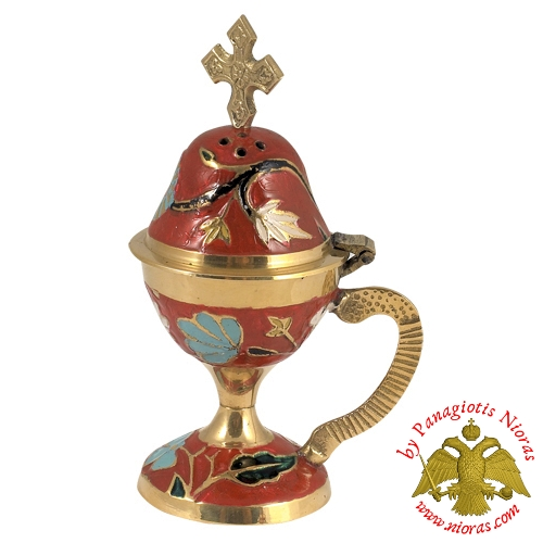 Home Orthodox Traditional Censer Brass 13cm Red Enamel