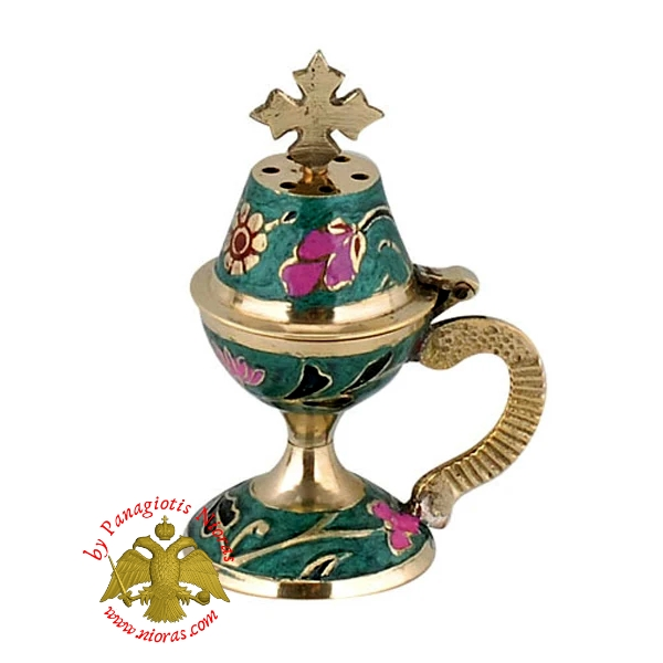 Orthodox Traditional Incense Burner 10cm Enamel Green