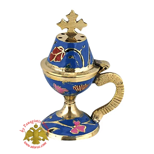 Orthodox Traditional Incense Burner 10cm Enamel Blue