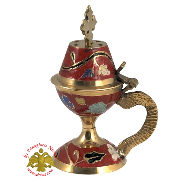 Orthodox Traditional Incense Burner 10cm Enamel Red