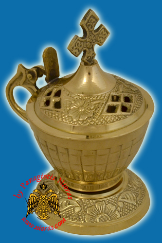 Orthodox Incense Burner Brass 12x6.5cm