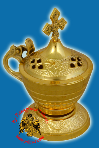 Incense Burner Gold Plated 12x6.5cm