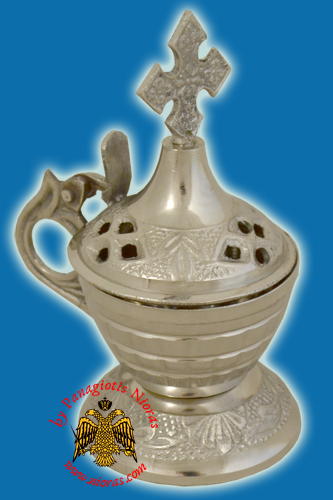 Orthodox Incense Burner Nickel 11x5.5cm