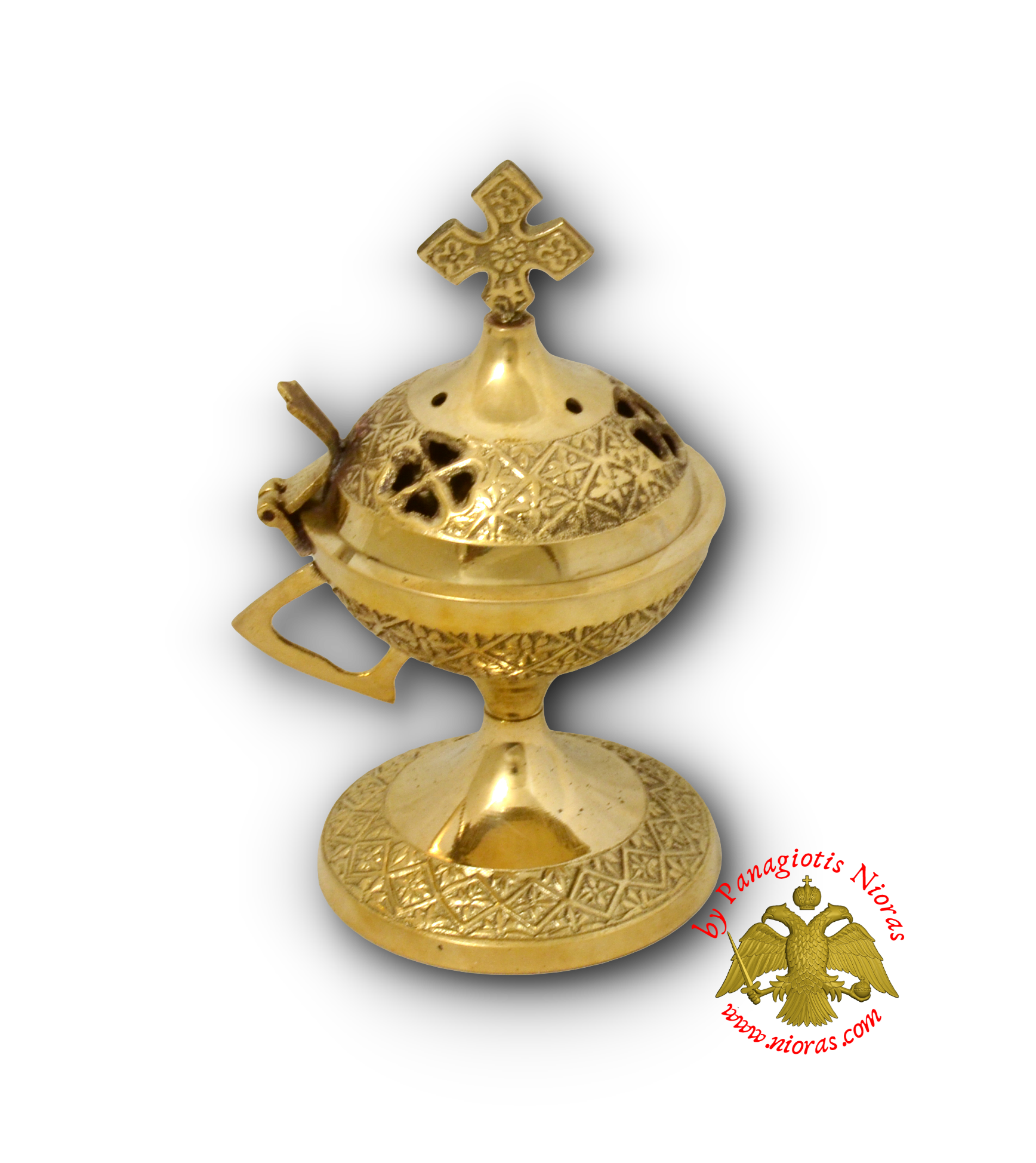 Orthodox Metal Incense Burner Flower Brass H:14x8cm