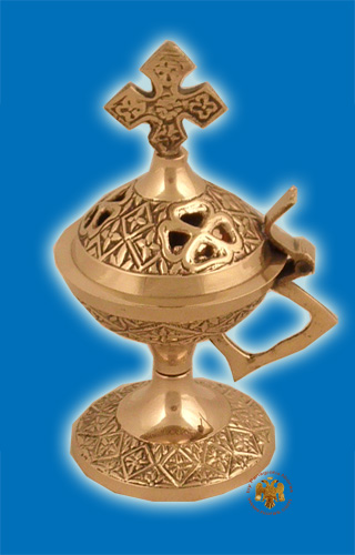 Metal Incense Burner Flower Bronze