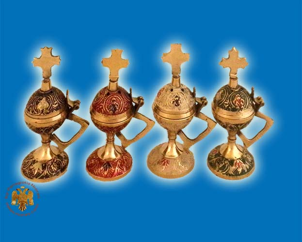 Orthodox Incense Burner 10cm Coloured Round A