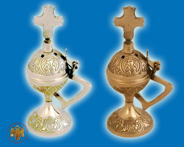 Orthodox Incense Burner 10cm Design Round Small with Cross in the Lid