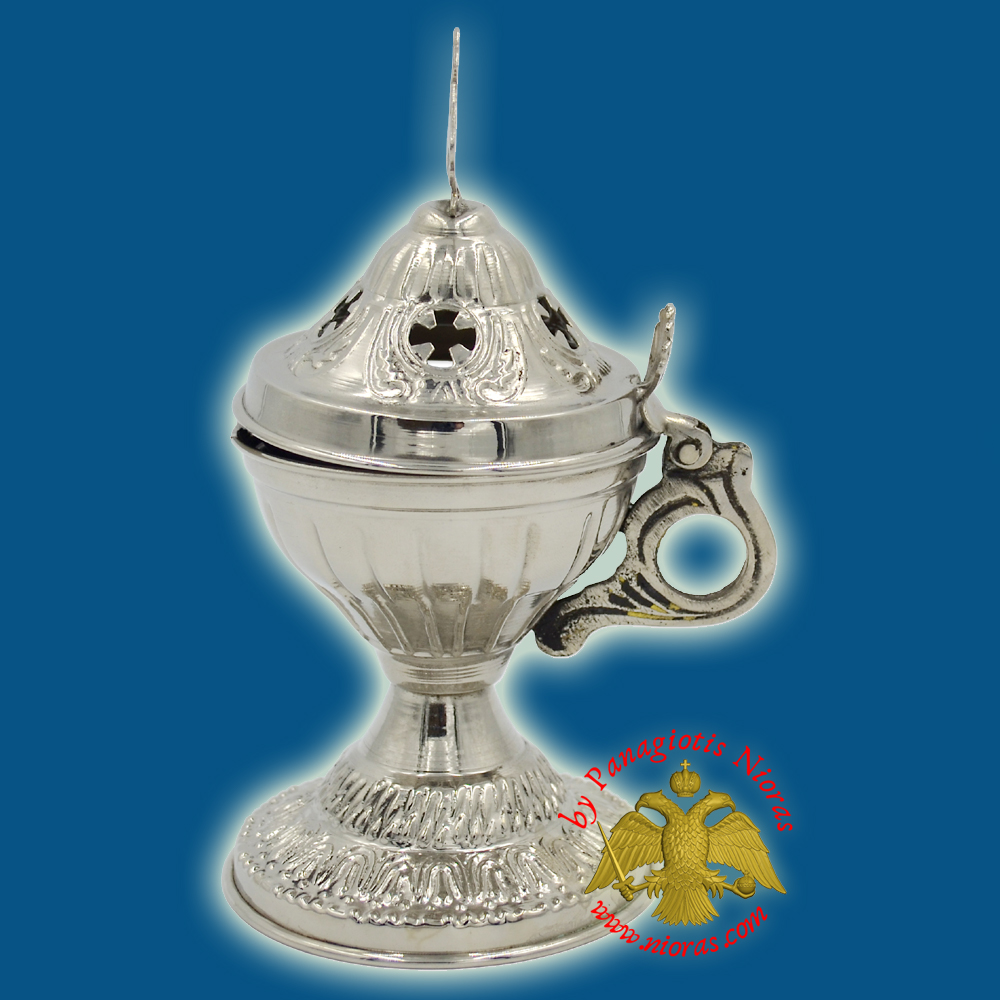 Orthodox Engraved Design A Incense Burner Nickel Plated