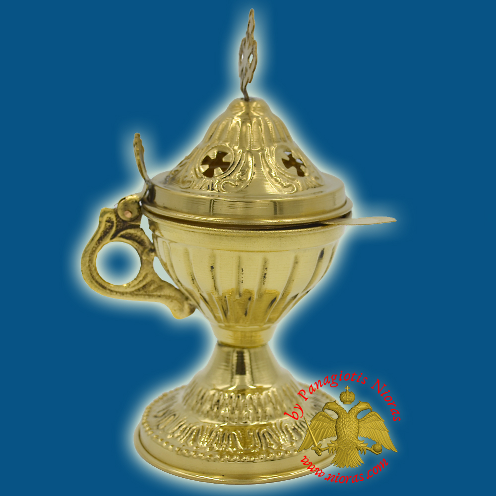 Orthodox Engraved Design A Incense Burner Brass Polished