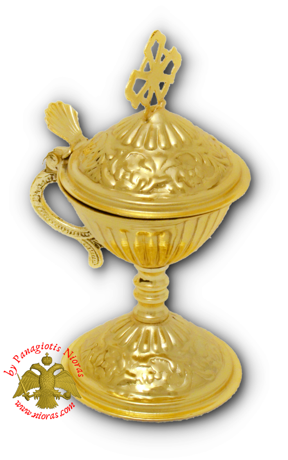 Orthodox Engraved Design B Incense Burner Gold Plated 13cm