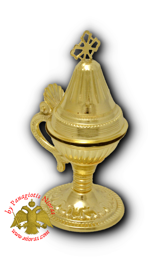 Orthodox Engraved Design C Incense Gold Plated 12cm