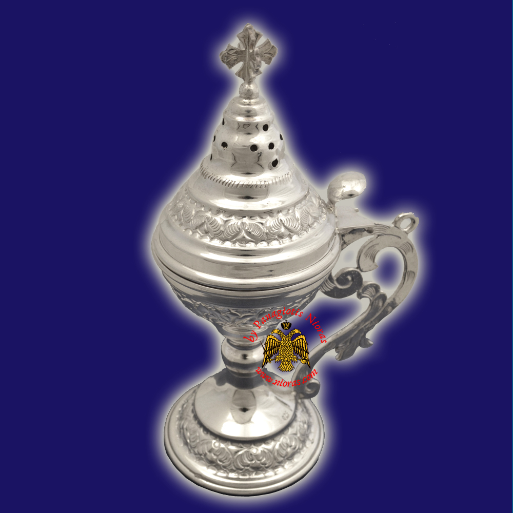 Silver 925 Metal Orthodox Incense Burner Hand Made in Greece