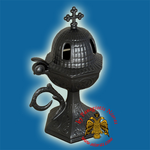 Orthodox Aluminum Incense Burner Church Style Charcoal 18x7.5cm