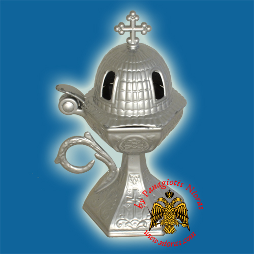 Orthodox Aluminum Incense Burner Church Style Silver 18x7.5cm