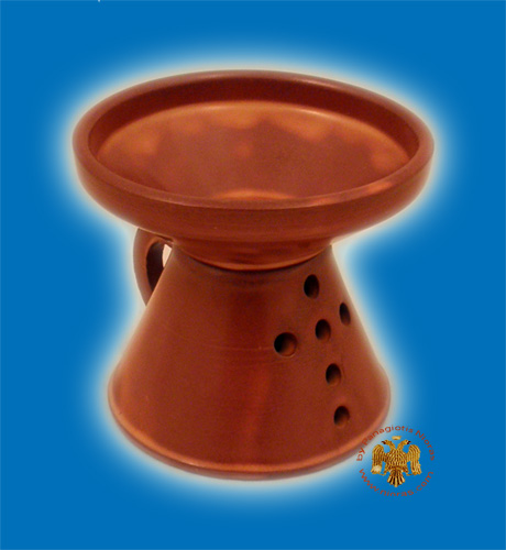 Orthodox Incense Burner Ceramic with Cross Brown