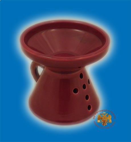 Orthodox Incense Burner Ceramic with Cross Red