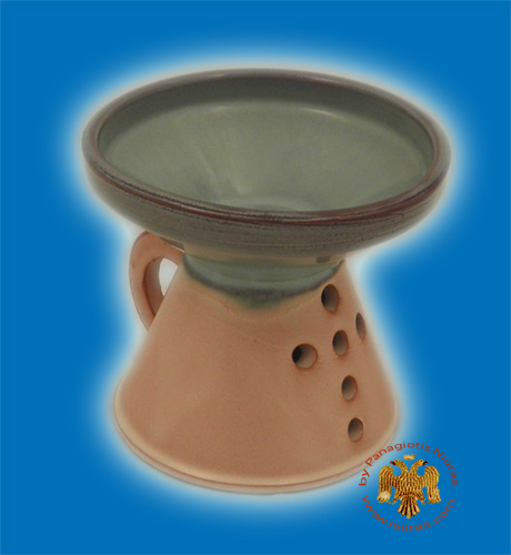 Orthodox Incense Burner Ceramic with Cross Brown Turquoise