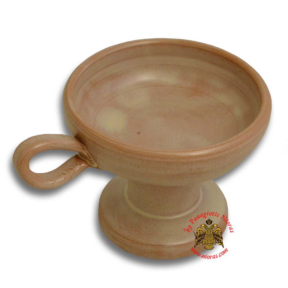 Orthodox Incense Burner Ceramic Simple With Handle Brown