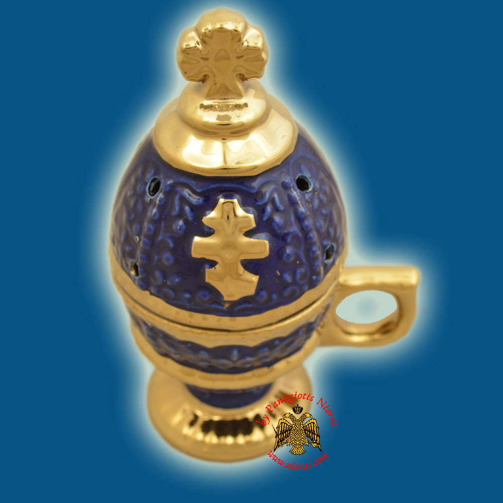 Incense Burner Russian Style with Lid Cross Decorated Porcelain Blue 16cm