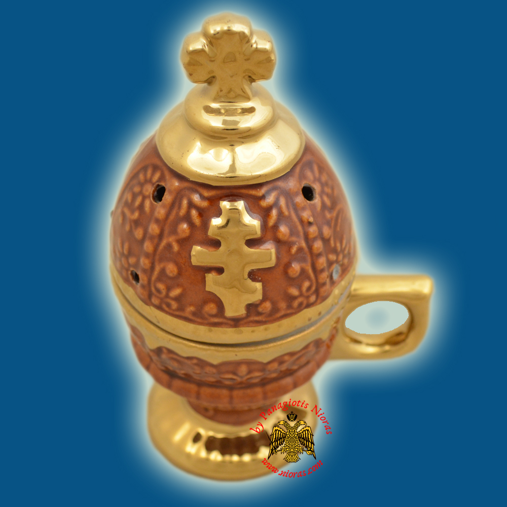 Incense Burner Russian Style with Lid Cross Decorated Porcelain Brown 16cm
