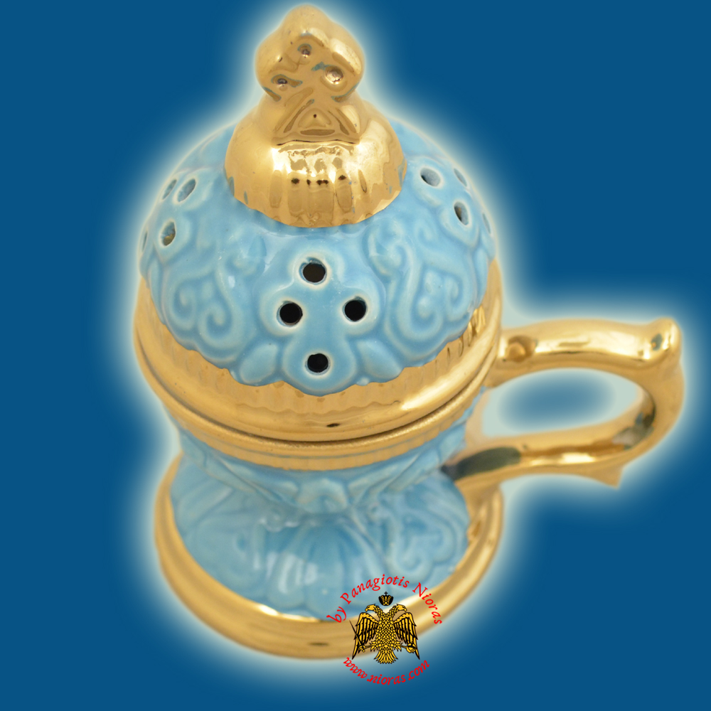 Incense Burner Russian Style with Lid Cross Decorated Porcelain Tirquaz 14cm