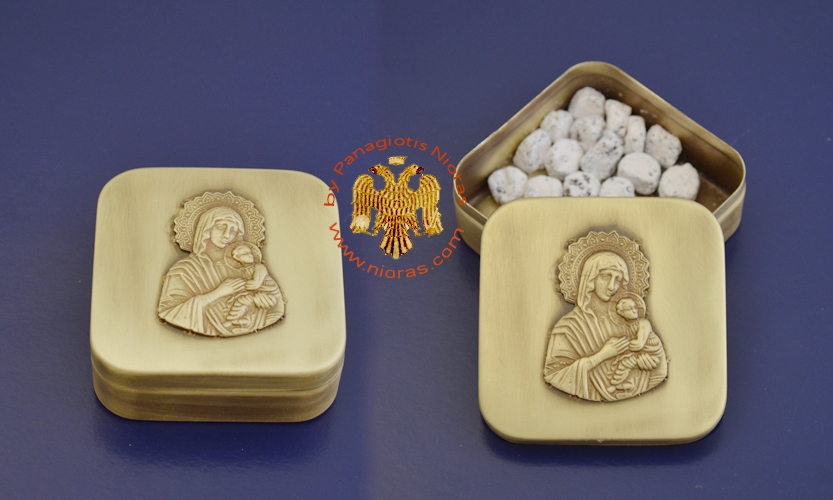 Incense Box with Orthodox Image of Panagia on the Top Cup