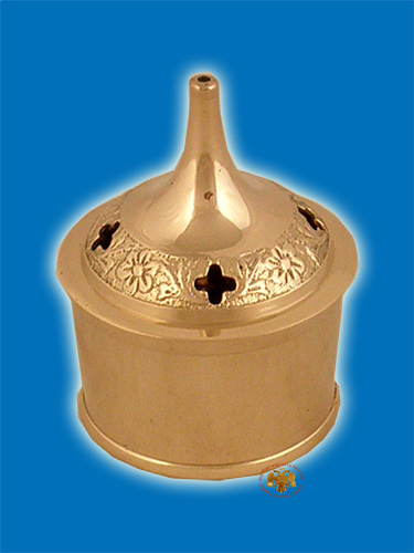 Round Base D Incense Box Brass