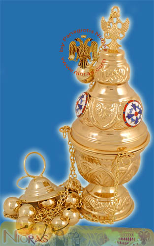 Athinaikon Style A Church Censer Gold Plated with Enamel Cross