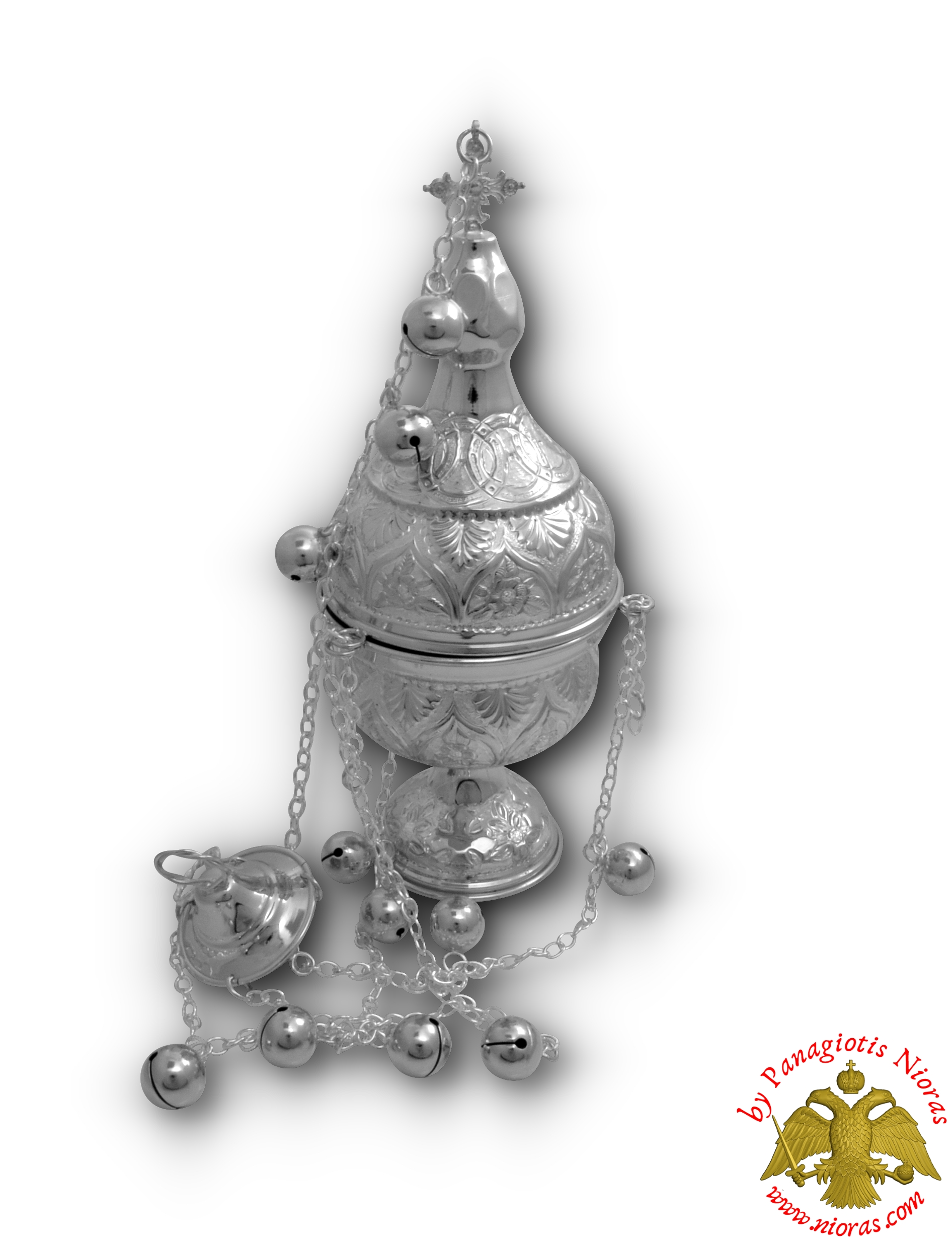 Orthodox Ecclesiastical Censer Athinaiko Style 13x32cm Silver Plated