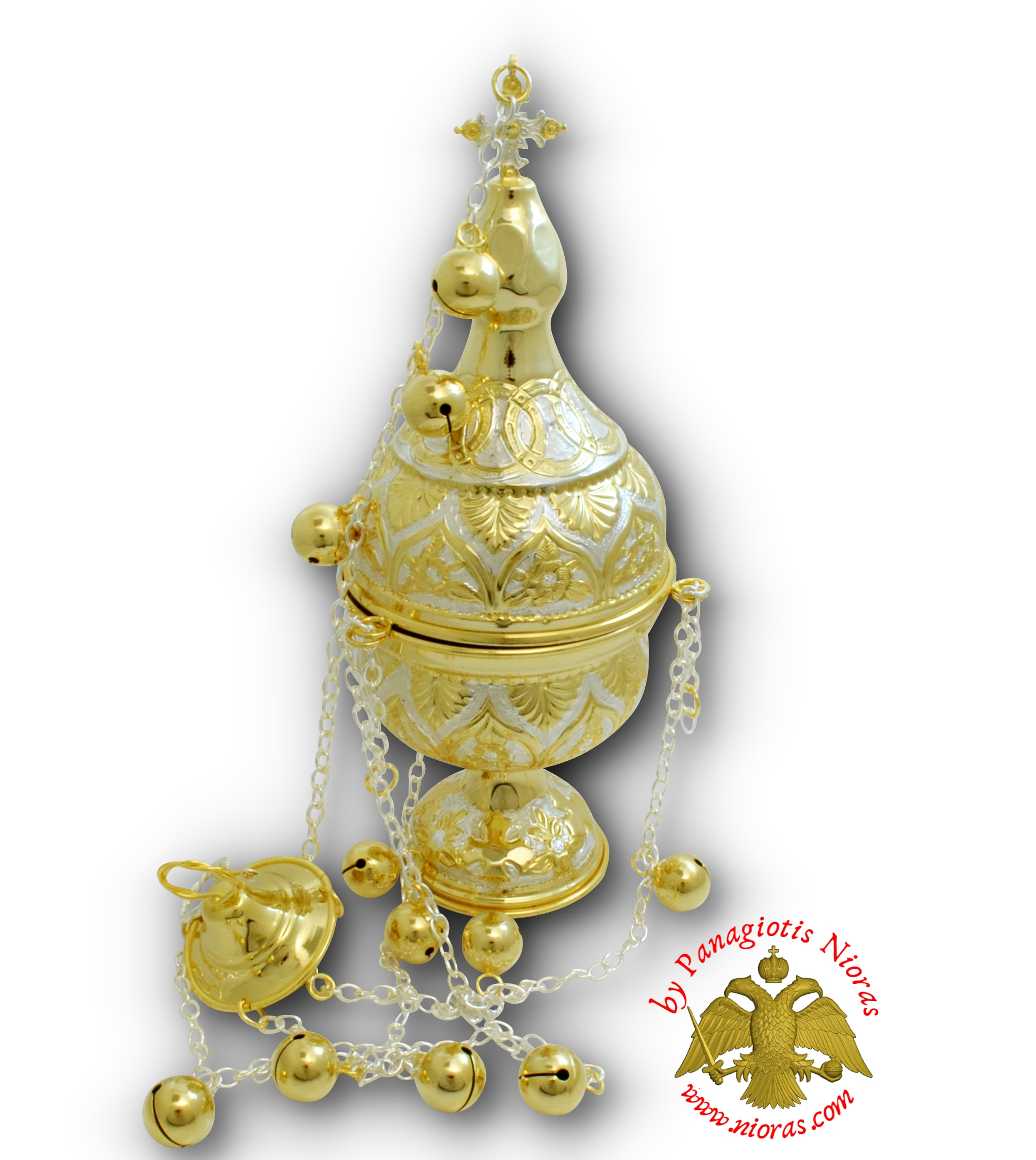 Orthodox Ecclesiastical Censer Athinaiko Style 13x32cm Silver_Gold Plated