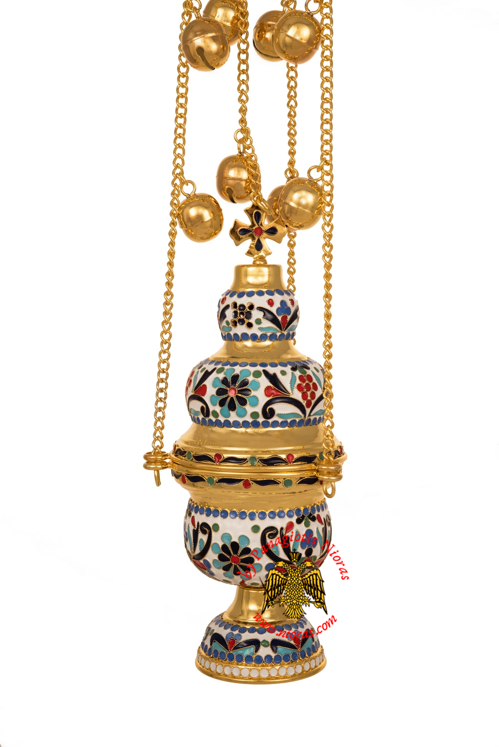 Ecclesiastical Orthodox Censer Athinaiko Style With Enamel Hand Made Gold Plated