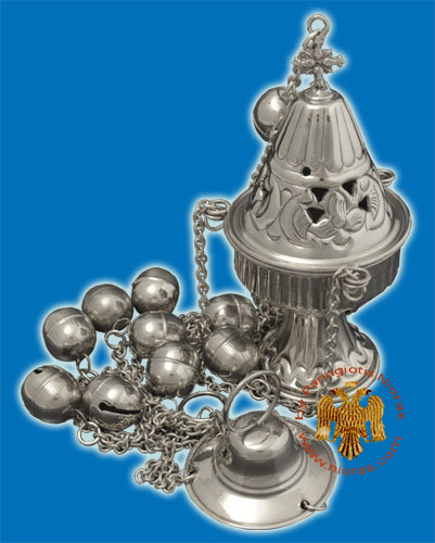Ecclesiastical Censer Conical with Cut Flowers 17cm Nickel