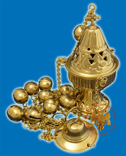 Ecclesiastical Censer Conical with Cut Flowers 17cm Brass