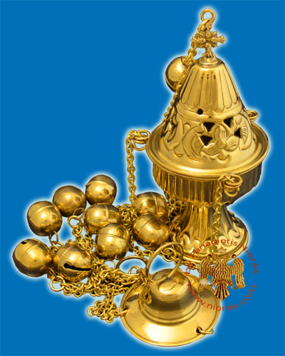 Ecclesiastical Censer Conical with Cut Flowers 17cm Gold Plated