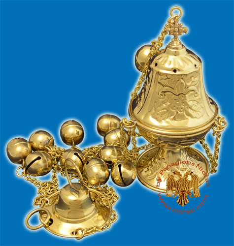 Ecclesiastical Censer Conical with Flowers 16cm Brass