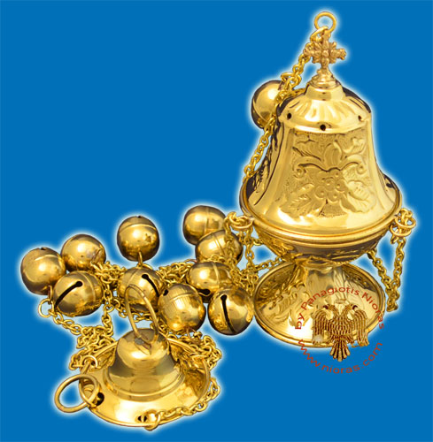 Ecclesiastical Censer Conical with Flowers 16cm Gold Plated